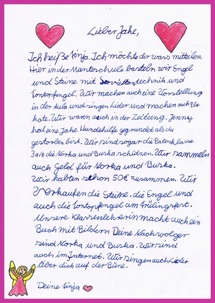Finjas Brief an Jake